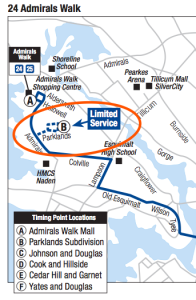 "A classic ""lollipop"" route structure: the Parklands loop on the Victoria Regional Transit System's 24 Admirals Walk route. (Base Map: BC Transit)"