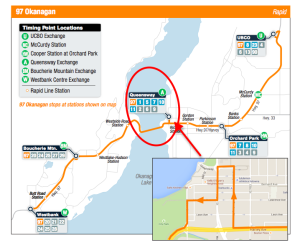Westbound routing of Kelowna's 97 Okanagan routing turns a would-be lollipop into forward momentum.  Base maps: BC Transit, Google