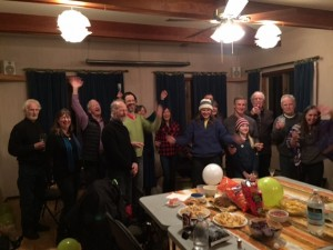 Islanders celebrate the success of today's referendum for ongoing support of transit on Gabriola.