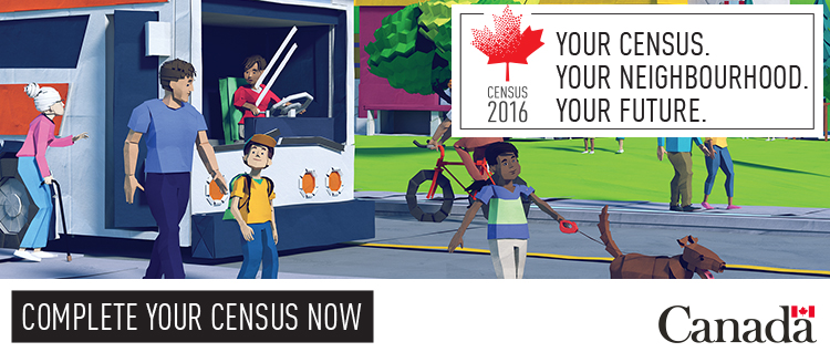 Image from the Statistics Canada website promotes filling in the census...and living a sustainable transportation lifestyle. (Source: Statistics Canada)