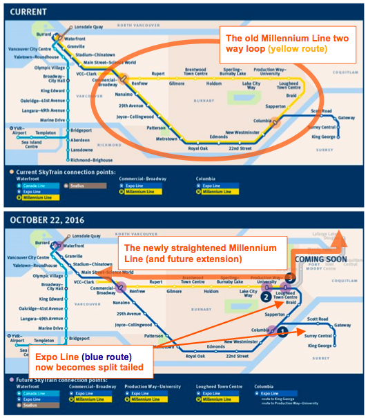 Straightening the old Millennium Line loop (Base Maps Source: TransLink)